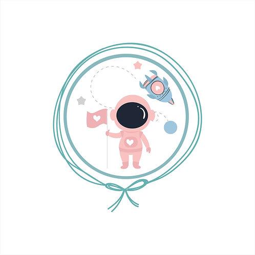 Travesseiro com fronha em Plush - Astronauta Rosa