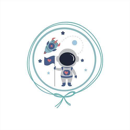 Boneca com Vestido Personalizado - Astronauta Cinza