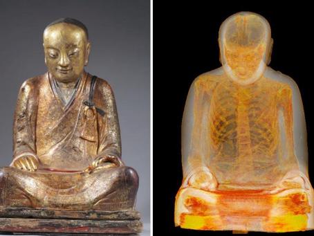 1,0000 year old Buddhist monk found inside a statue
