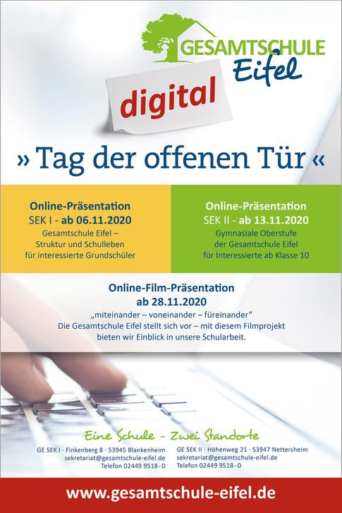 Anzeige/ Flyer zur Online-Präsentaion
