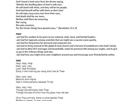 Family Worship Liturgy (3/29/20)