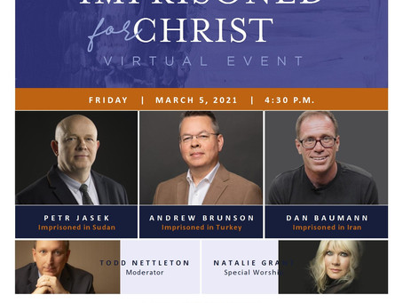Imprisoned for Christ: Virtual Event (4:30pm, Friday, March 5th)