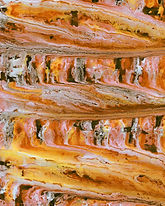 Orange and brown painting symbolizing even THC to CBD weed strains 'balance'