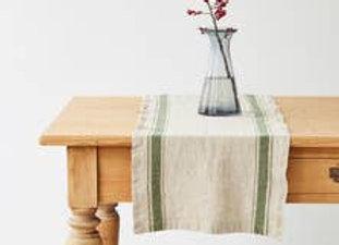"Linen Table Runner - Vintage Style Green vintage stripes 16"" x 79"""