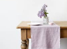 """Linen Table Runner with Fringes Pink Lavender 16"""" x 59"""""""
