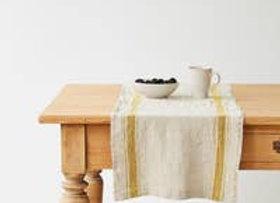 "Linen Table Runner - Vintage Style Mustard Vintage Stripe 16"" x 59"""