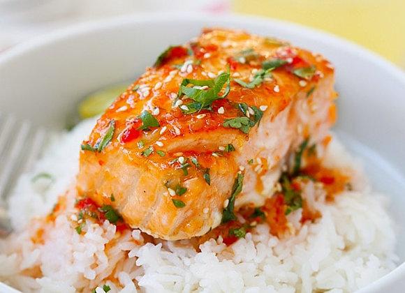 Seared Salmon with Sweet Chili Glaze