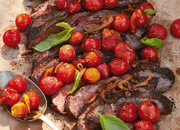 Grilled Flank Steak with Burst Tomatoes