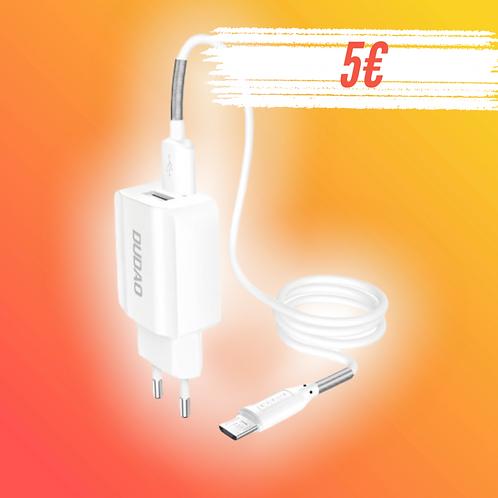 Dudao 2x USB Home Travel Adaptador UE carregador de parede 5V / 2.4A + cabo micr