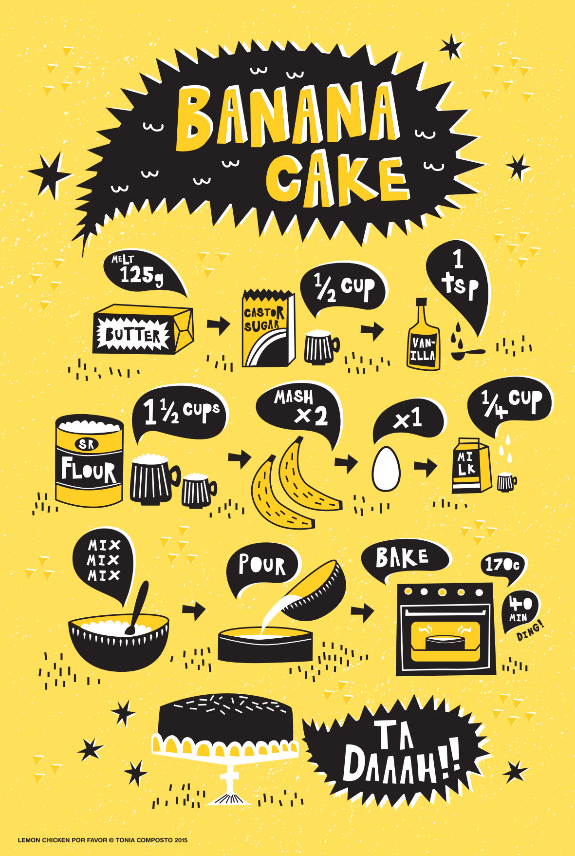 Banana Cake illustrated recipe