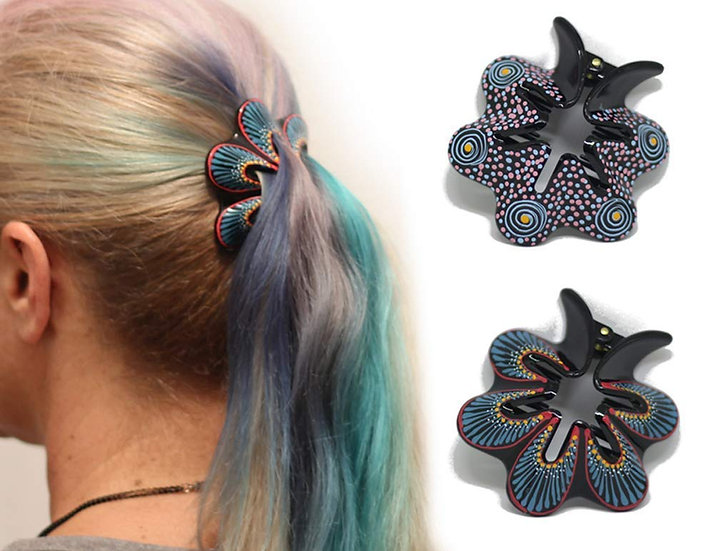 Hair Barrette Hand painted Hair Clips. 2 Pcs - Model 2
