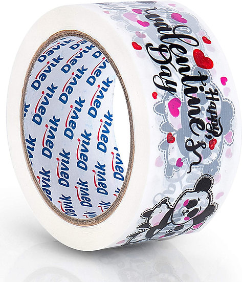 Valentine Pandas Printed Packaging Tape Single Roll: Red Pink Hearts
