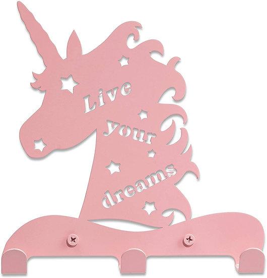 Unicorn Kid's Hook Rack – for Kids + 3 (Pink)