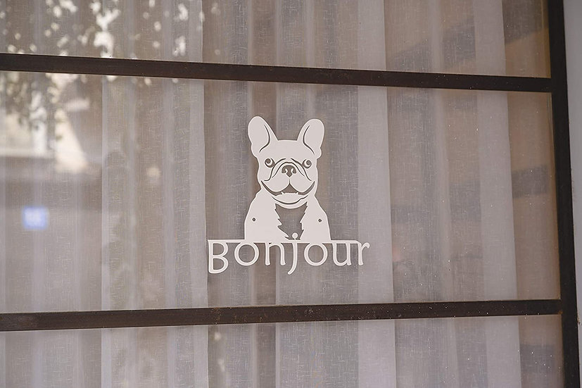 Metal Wall Art French Bulldog Welcome Sign (White)
