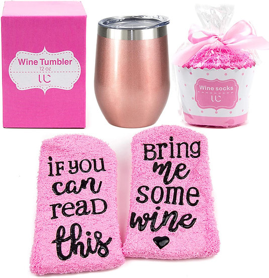 Stainless Steel 12 oz Wine Tumbler + Cupcake Wine Socks Gift Set