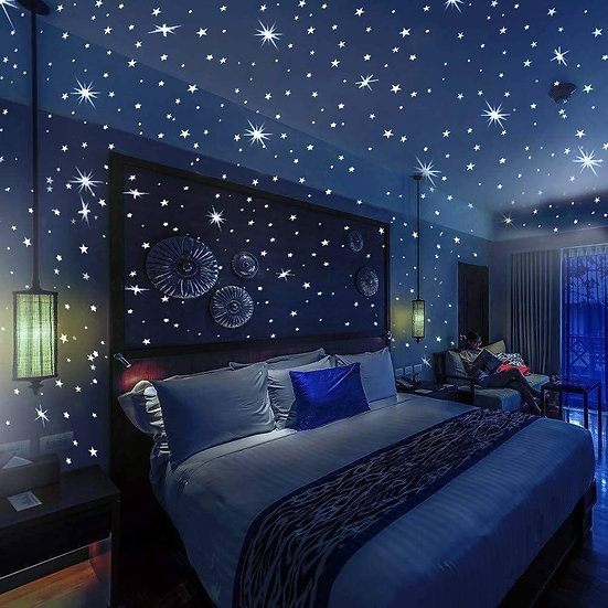 Glow in The Dark Stars and Dots 332 3D Wall Stickers for Kids Bedroom+Bonus