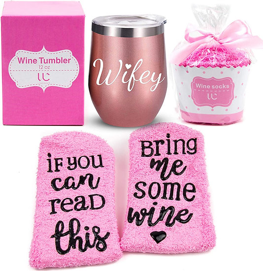 Wifey Gift Set   Stainless Steel 12 oz Wine Tumbler + Cupcake Wine Socks