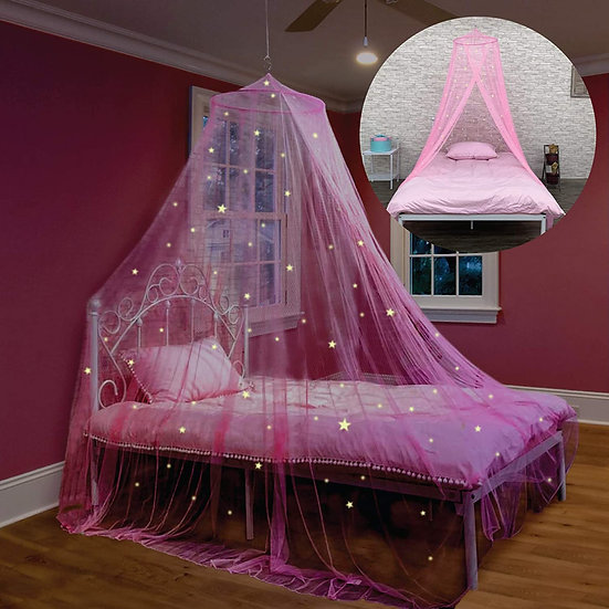 Bed Canopy with Glow in The Dark Stars for Girls, Kids and Babies, Anti Mosquito