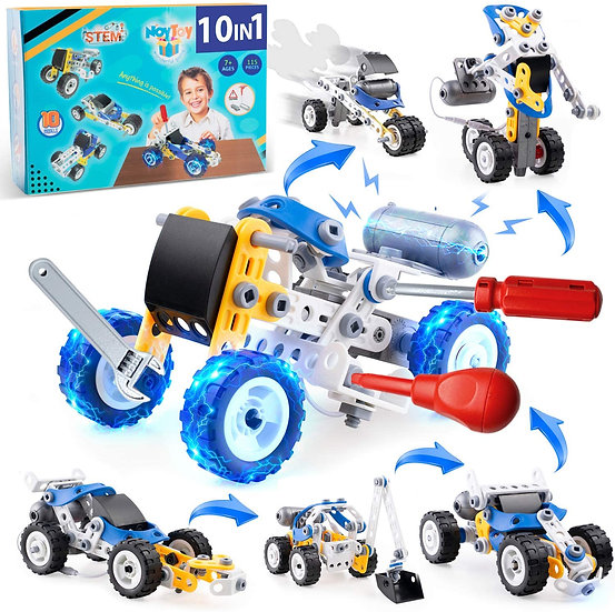 Projects for Kids with Electric Power Motor , 10 in 1 Motorized Educational Engi