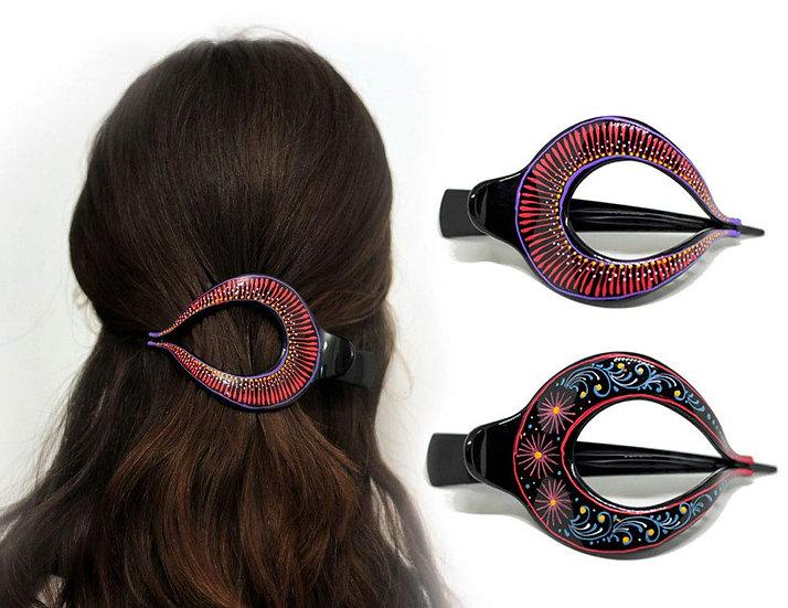 Hair Barrette Hand painted Hair Clips. 2 Pcs - Model 4