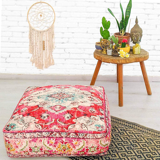 Mandala Life ART Bohemian Yoga Decor Floor Cushion Cover- Color: Red