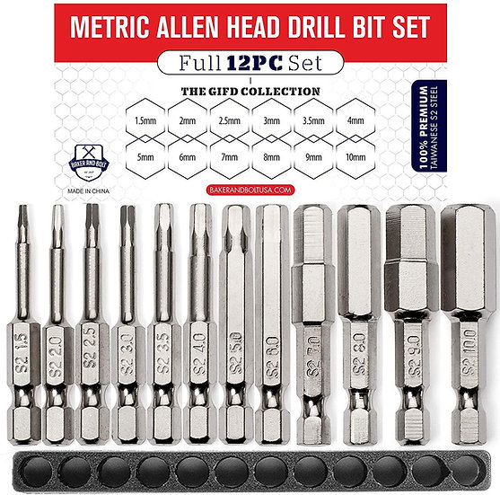 Metric Allen Wrench Drill Bit Set (Premium 12pc Complete SAE Set)