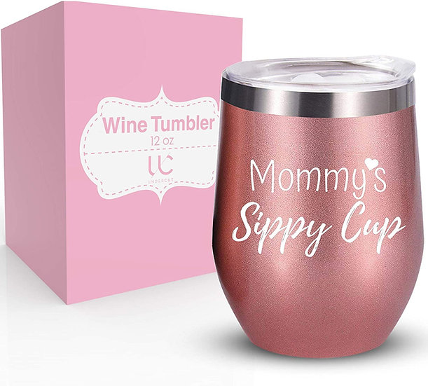 Mommy Sippy Cup | 12 oz Stainless Steel Wine Tumbler with Lid