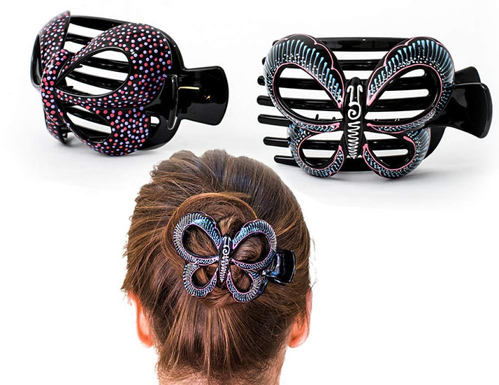 Butterfly Barrettes Hand Painted, Bun Cover Clips, 2 Pcs - Model 2