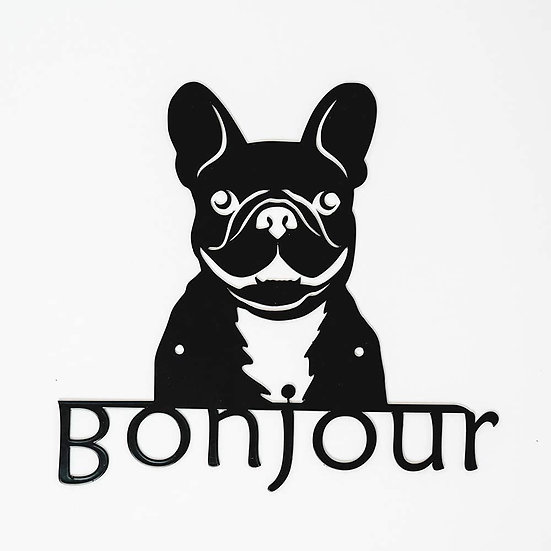 Metal Wall Art French Bulldog Welcome Sign (Black)