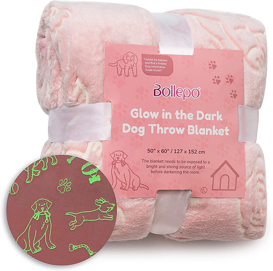 Glow in The Dark Throw Blanket, Dogs Design, Soft Plush Fleece Blanket