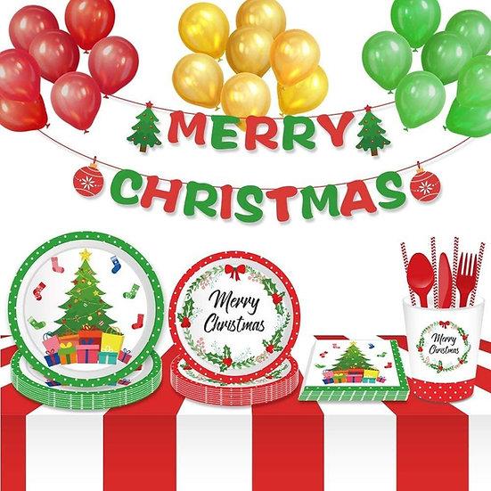 Christmas paper & plastic serving 113 pcs dinnerware set (Fir Tree)
