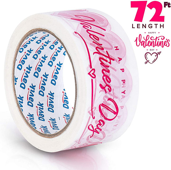Valentine's Day Printed Packaging Tape Single Roll: Hot Pink Hearts