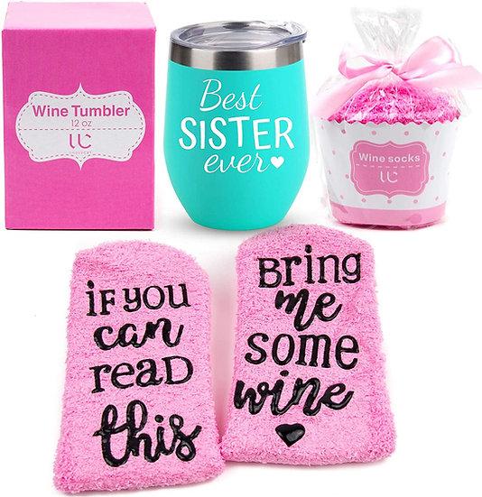 Best Sister Ever Wine Tumbler + Cupcake Wine Socks Gift Set