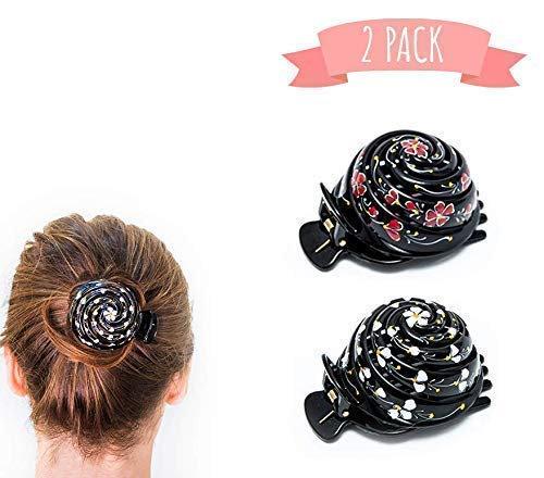 Bun Cover Hair Holder, Hand Crafted Hair Clip. 2 Pcs - Model 3