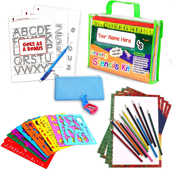 Drawing Stencil Set – 50-Piece Crafting Kit for Kids