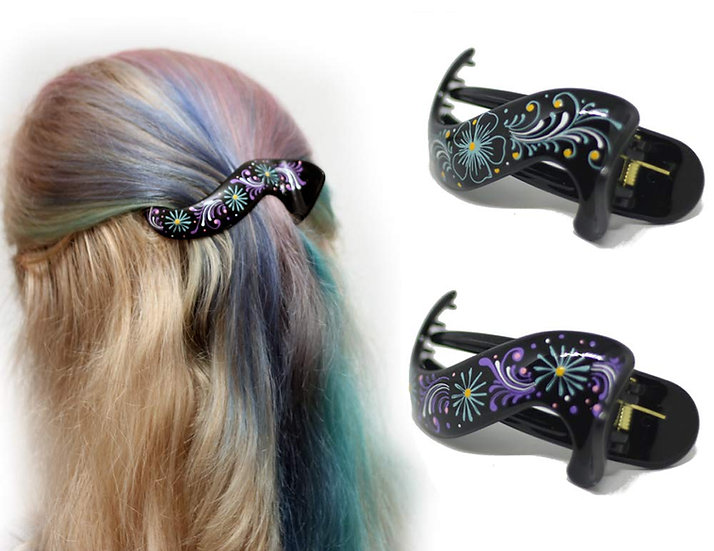 Hair Barrette Hand painted Hair Clips. 2 Pcs - Model 1