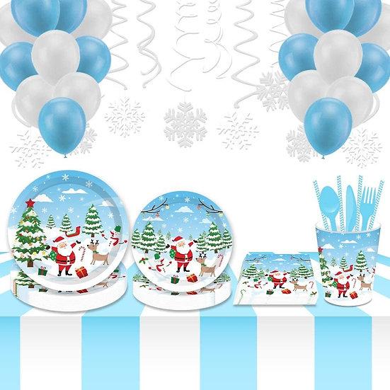 Christmas paper & plastic serving 113 pcs dinnerware set (Santa)