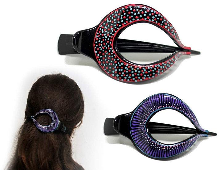 Hair Barrette Hand painted Hair Clips. 2 Pcs - Model 3