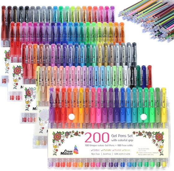 Cedar Markers Gel Pens. 200 Set 100 Pens Plus 100 Refills
