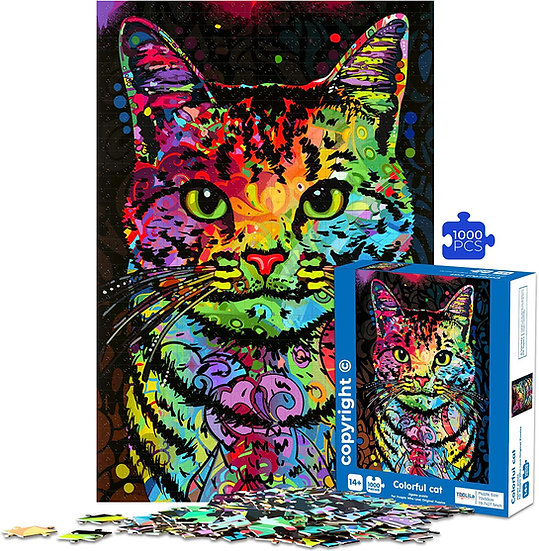 Jigsaw Puzzles for Adults Teens 1000 Piece Colorful Cat 28x20 Inches