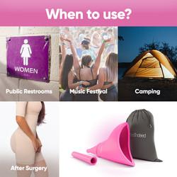 Trek Female Urinal Pee Funnel for Women Discreet Carry Bag Travel Roadtrip Festivals Campi
