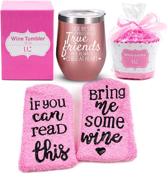 12 oz Stainless Steel Wine Tumbler with Lid + Cupcake Wine Socks Gift Set