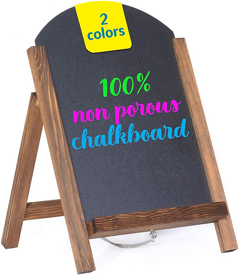 "Cedar Markers 15""x10"" Arc Shaped Chalkboard. Mini Chalkboard Signs with Chain"