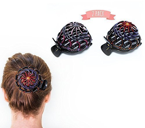Bun Cover Hair Holder, Hand Crafted Hair Clip. 2 Pcs - Model 2