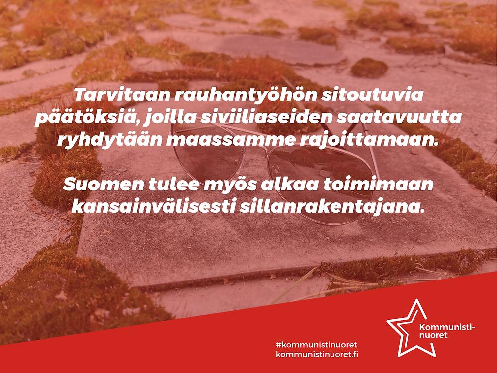 Bannerikuva: Kommunistinuoret vaatii rajoituksia siviiliaseiden saatavuuteen.