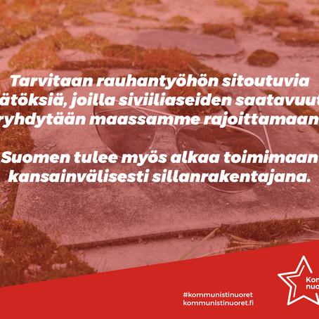 Suomi tarvitsee rauhanpolitiikkaa