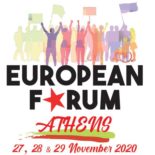 Ateenassa, Kreikassa 27.-29.11.2020 järjestettävän Eurooppalaisen foorumin logo.