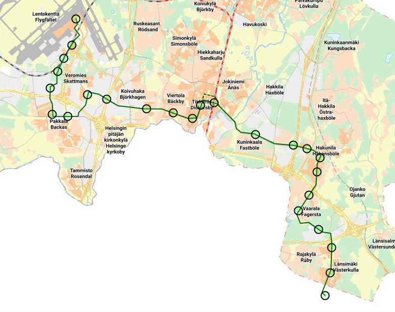 Kuvassa Vantaan ratikan esitetty reitti karttapalvelussa.