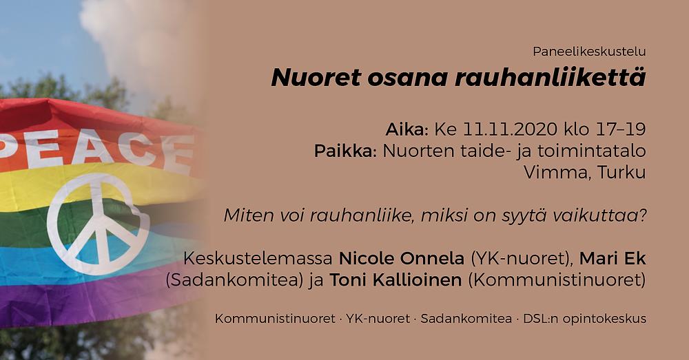 Turussa 11.11.2020 pidettävän Nuoret osana rauhanliikettä -keskustelun banneri.