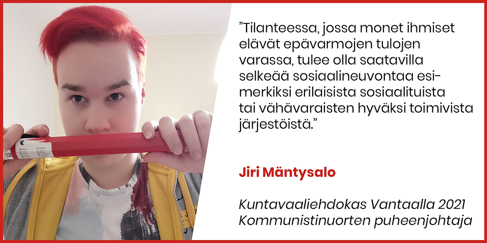 Bannerikuva: Jiri Mäntysalo haluaa Vantaalle selkeää sosiaalineuvontaa.